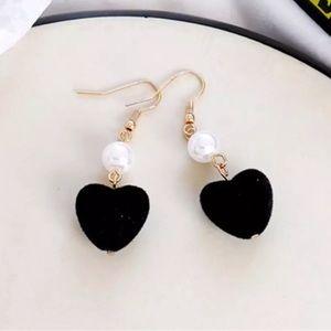 Black Velvet Heart Earrings